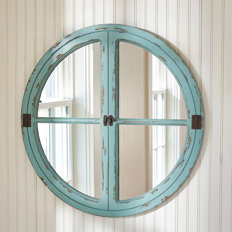 Wall Mirror Round parkdesignssplitp round window sea wall mirror & reviews   wayfair