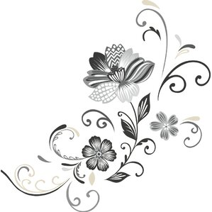 Deco 22 Piece Flower Scroll Wall Decal Part 93