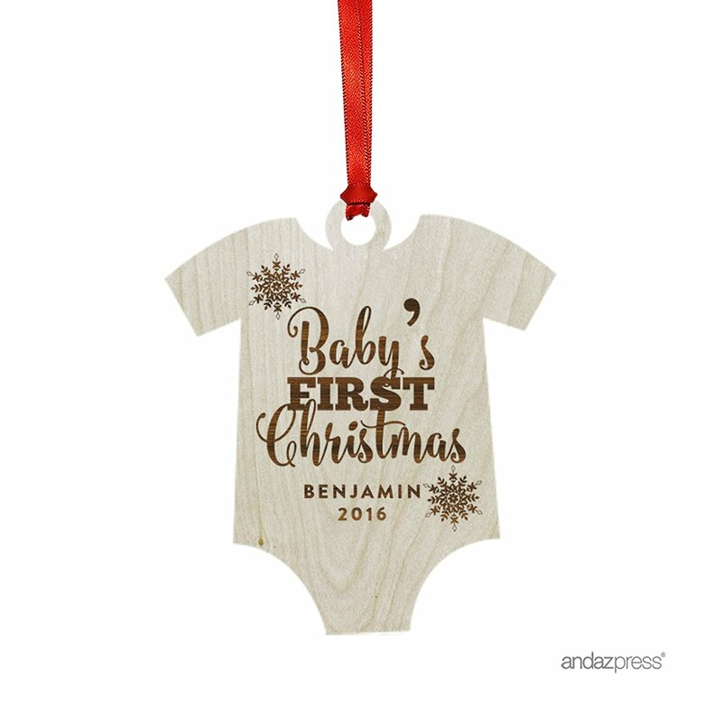 babys first christmas shaped ornament with gift bag