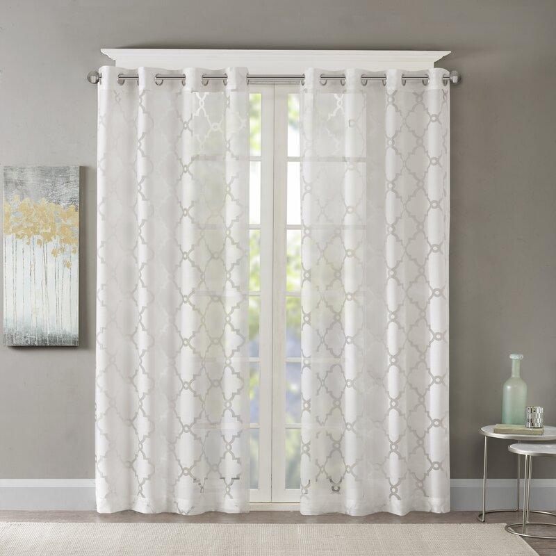 Breckenridge Geometric Sheer Grommet Single Curtain Panel
