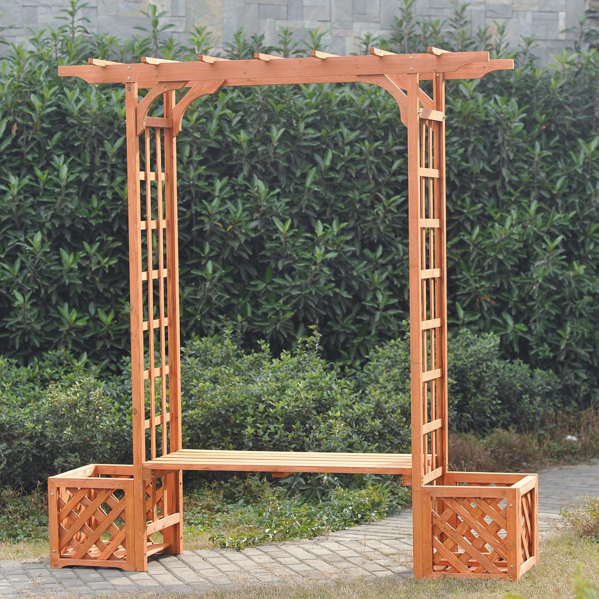 sunjoy wooden trellis arch wood arbor with bench and planter
