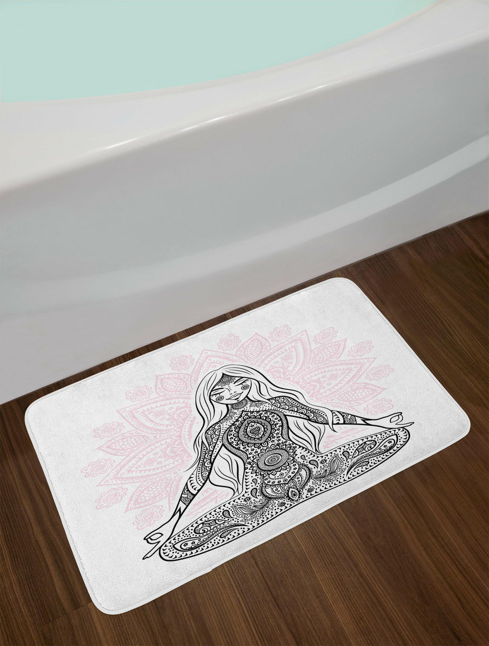 East Urban Home Chakra Ornate Girl Figure On Lotus Flower Bath Rug