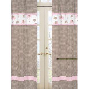 Elephant Rod Pocket Curtain Panels Set Of 2