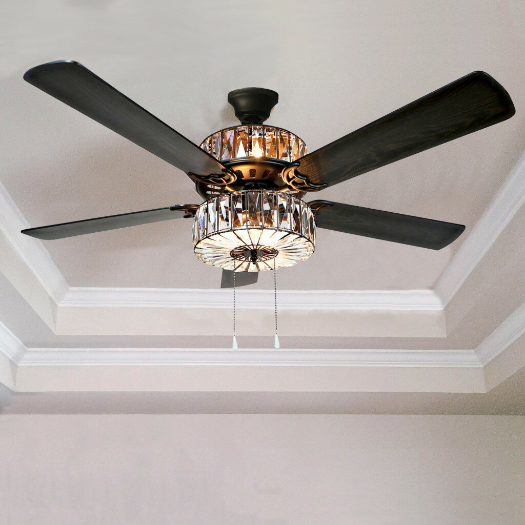 River Of Goods 52 Caged Crystal 5 Blade Ceiling Fan With Remote Reviews Wayfair