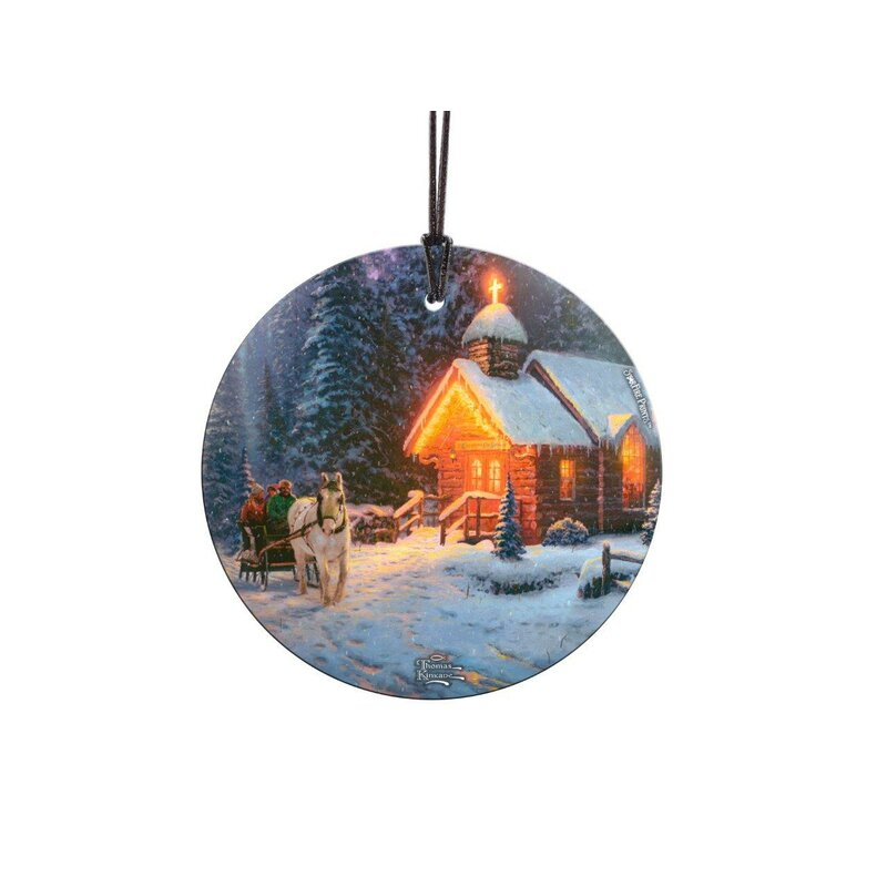 Thomas Kinkade Art Christmas Chapel Starfire Prints Glass Shaped Ornament