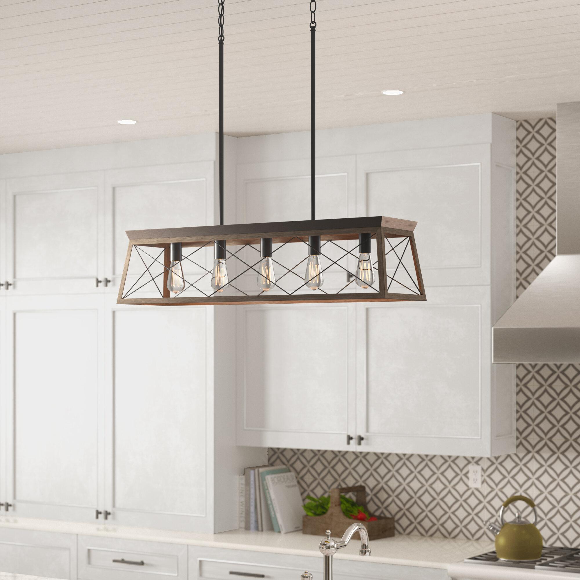 Laurel Foundry Modern Farmhouse Delon 5-Light Kitchen Island Pendant