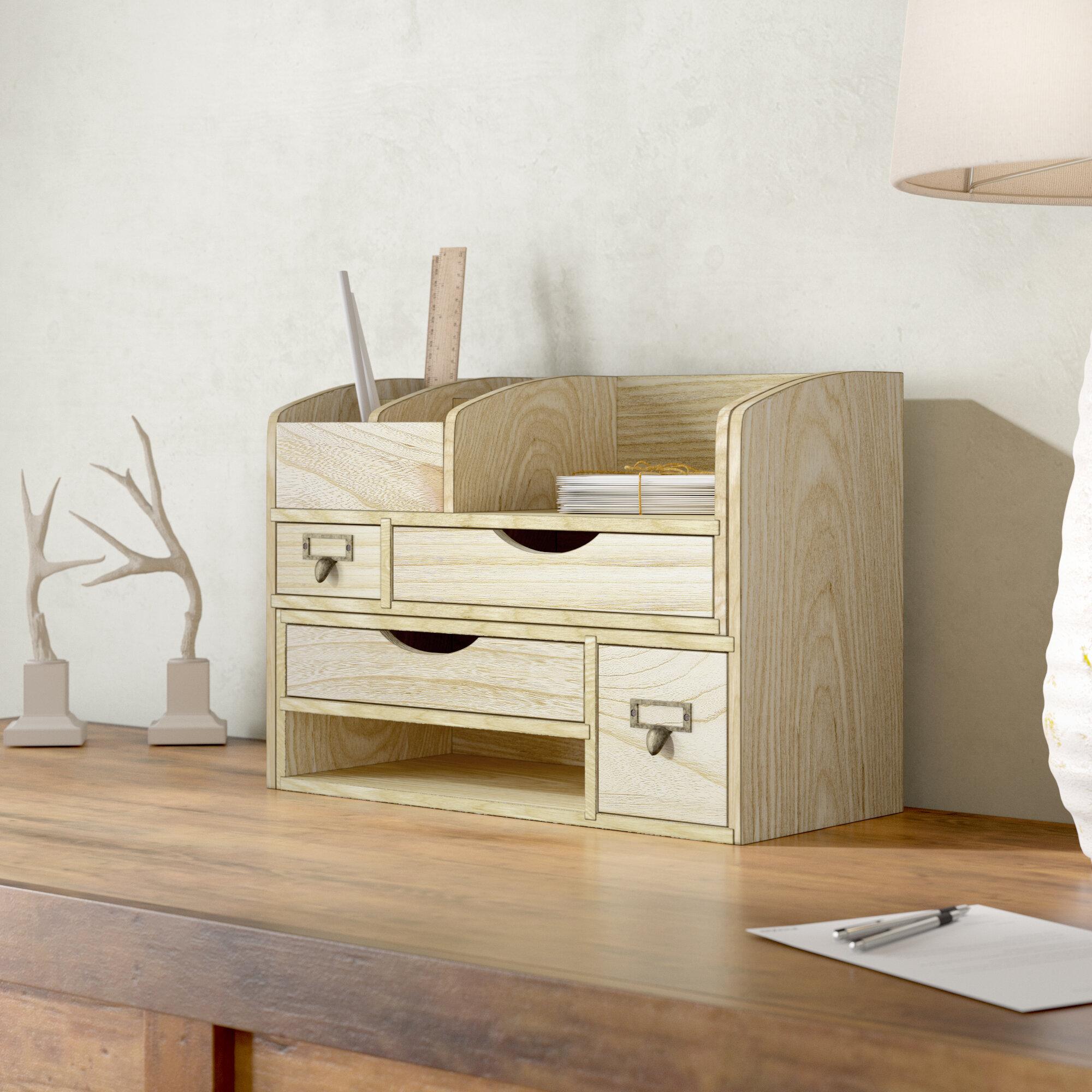 Loon Peak Riaria Adjule Wooden Desktop Organizer Office Supplies Storage Shelf Rack Reviews Wayfair