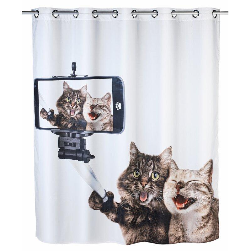 Wenko Selfie Cat Shower Curtain | Wayfair.co.uk