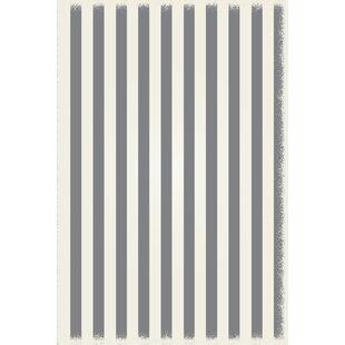 Croom Strips Design Gray/White Indoor/Outdoor Area Rug ByBreakwater Bay