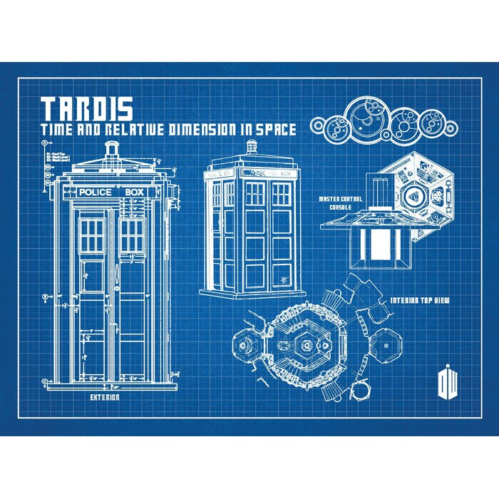 Inked and screened doctor who tardis blueprint graphic art wayfair doctor who tardis blueprint graphic art malvernweather Images