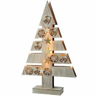 pre lit star and heart wood christmas tree table decoration