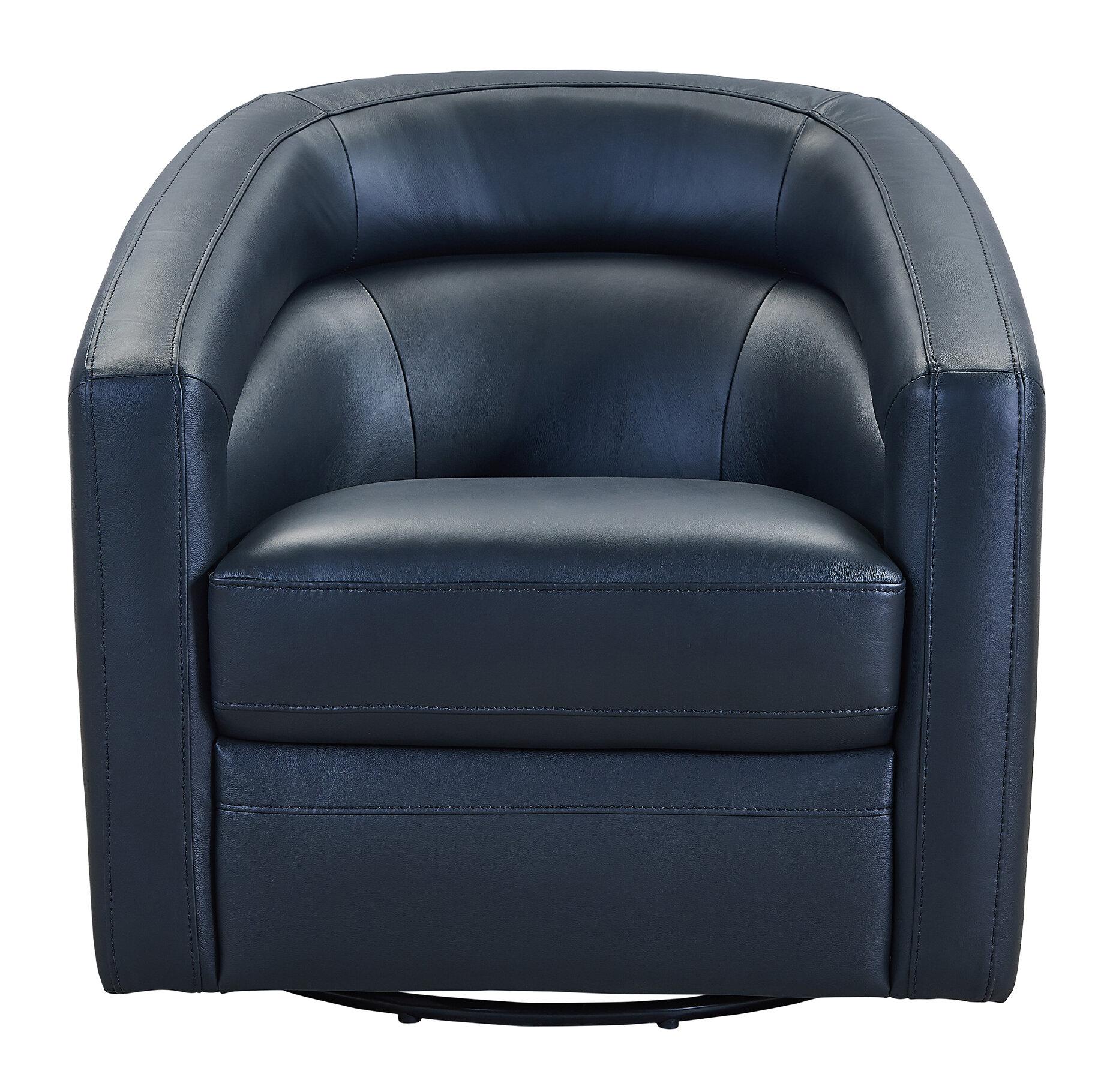 Attirant Silloth Contemporary Genuine Leather Swivel Barrel Chair