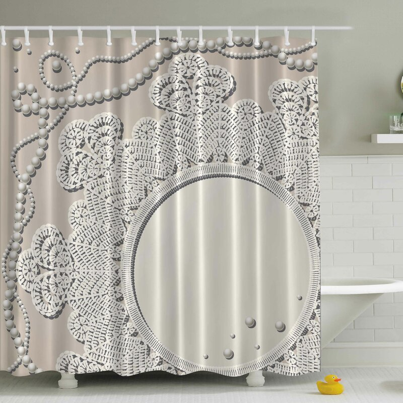 Pearls Mirror Lace Print Shower Curtain