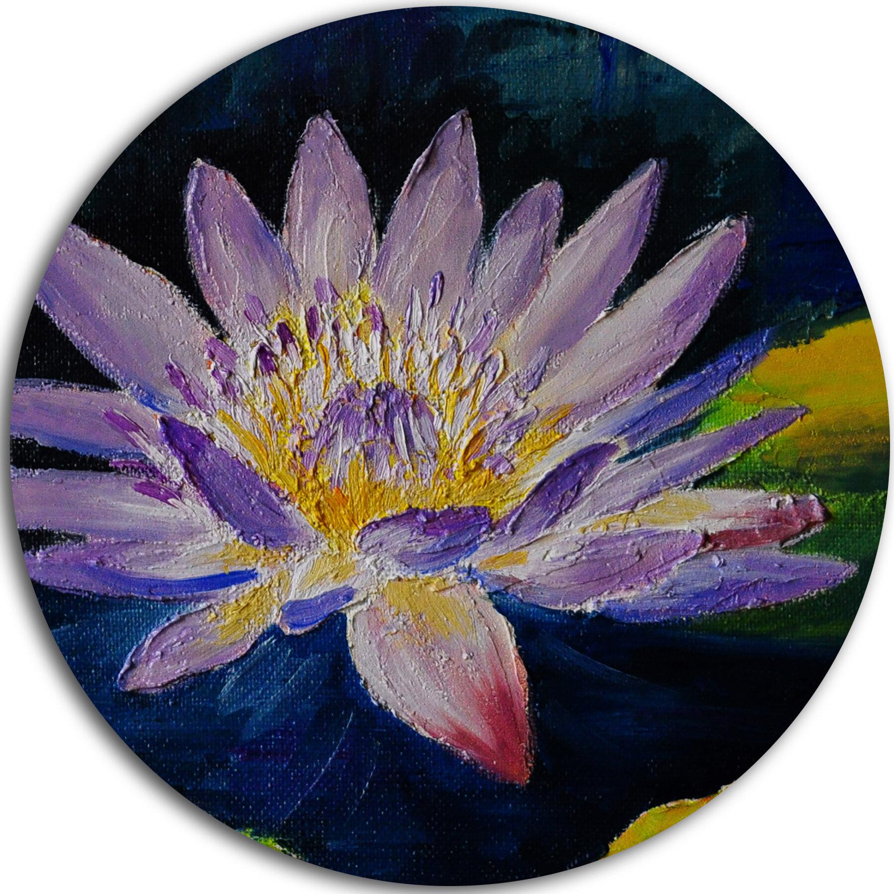 Designart Purple Lotus Flower Oil Painting Print On Metal Wayfair