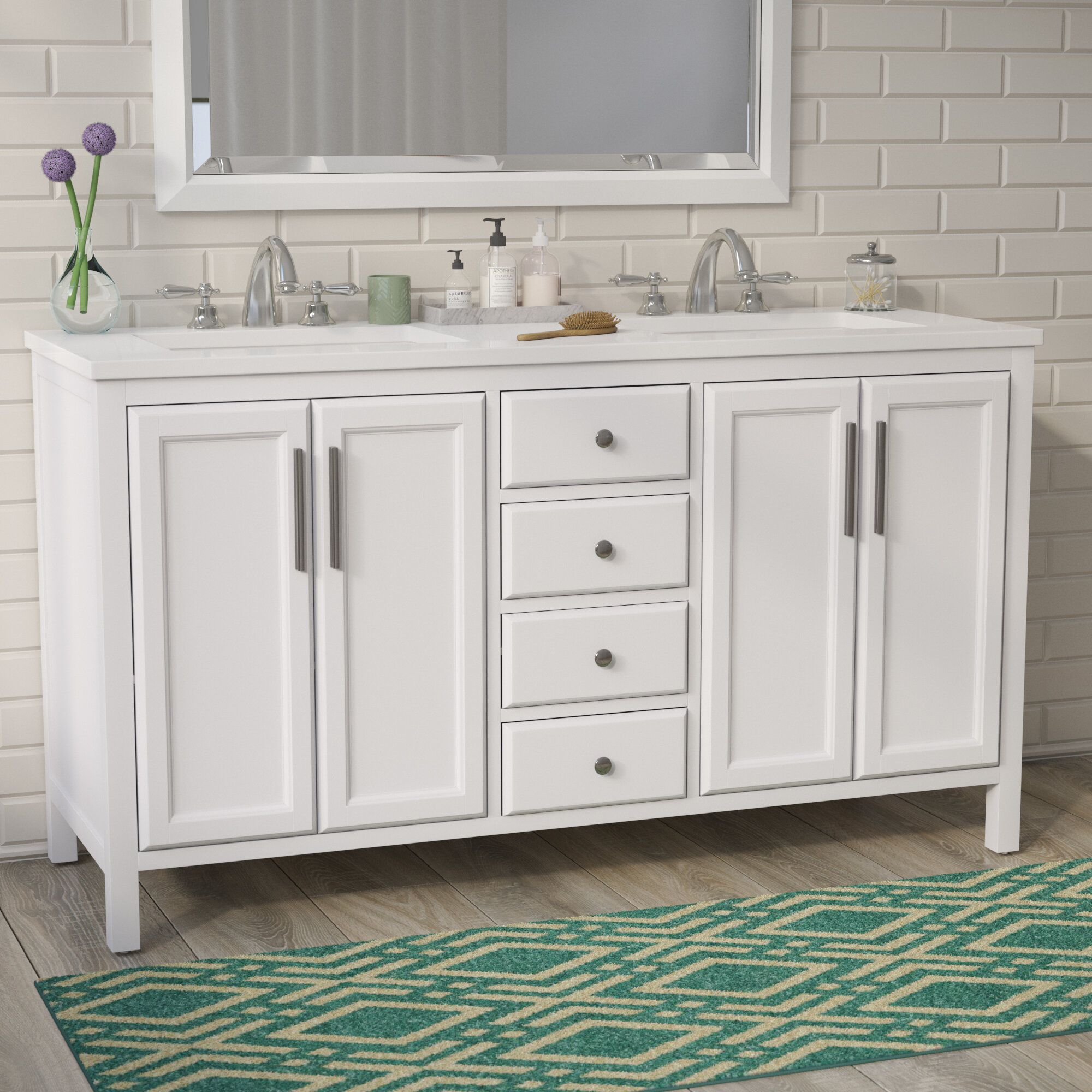 "Brayden Studio Carpentier 59"" Double Bathroom Vanity Set & Reviews 