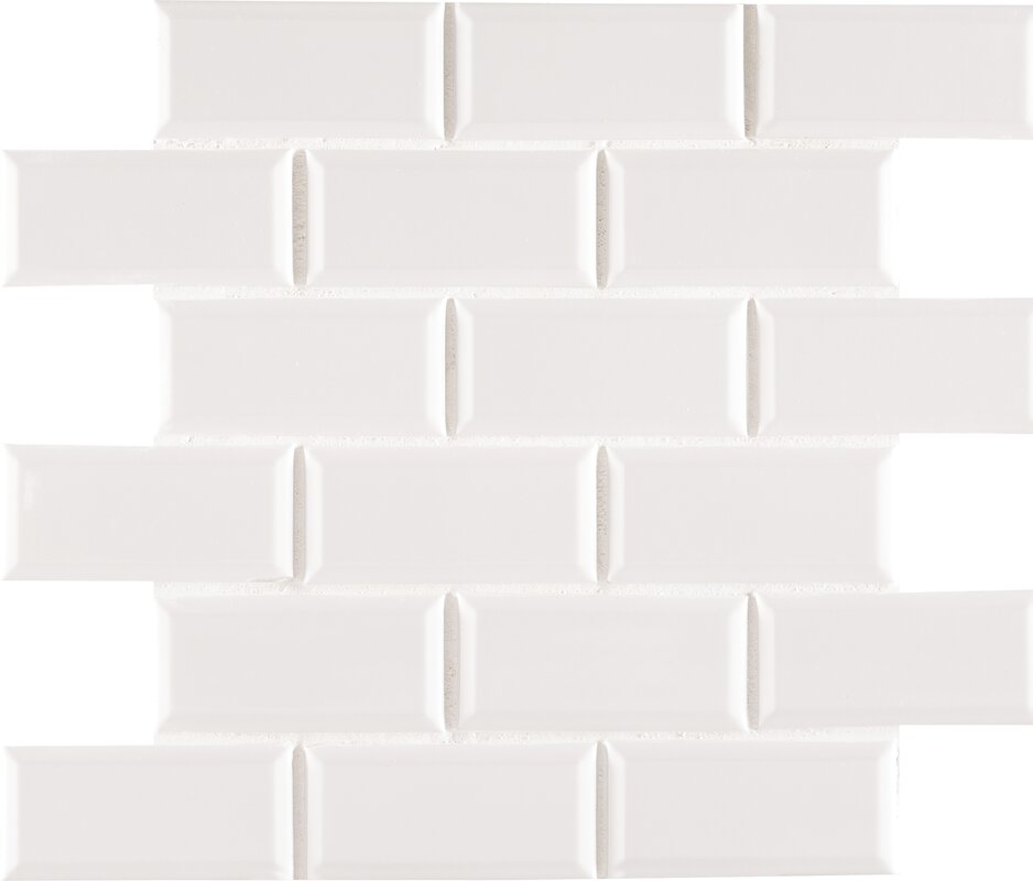 MSI Staggered Beveled 2 x 4 Porcelain Subway Tile in White