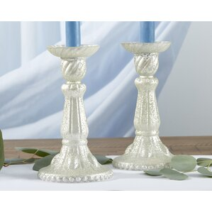 Light Champagne Frosted Mercury Glass Candlestick (Set Of 2)