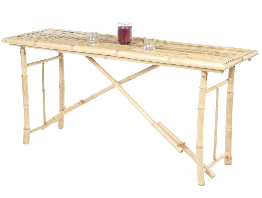 bay isle home porter long folding bamboo console table reviews. Black Bedroom Furniture Sets. Home Design Ideas