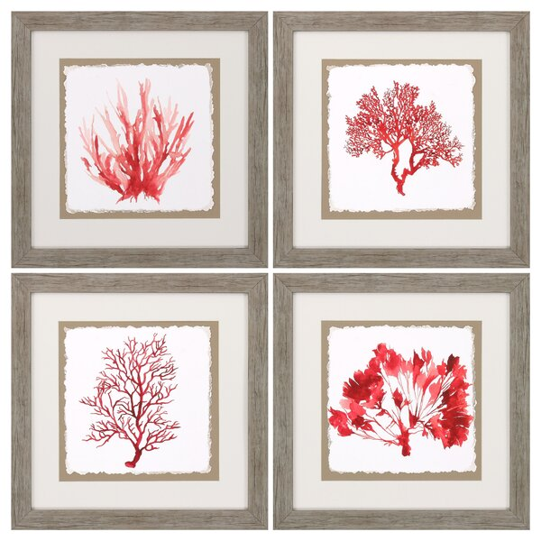 Propac Images Red Coral 4 Piece Framed Graphic Art Set & Reviews ...