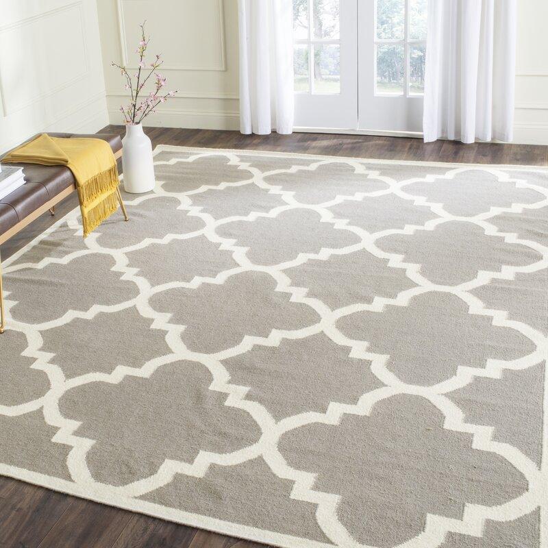 safavieh handgefertigter teppich dhurrie aus wolle in grau elfenbeinwei bewertungen. Black Bedroom Furniture Sets. Home Design Ideas