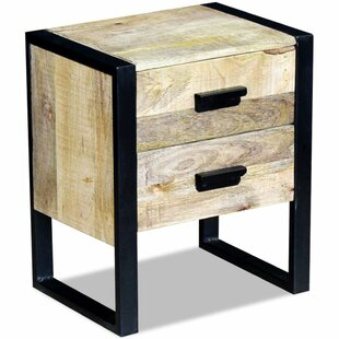 Gisela Solid Mango Wood 2 Drawer Side Table ...