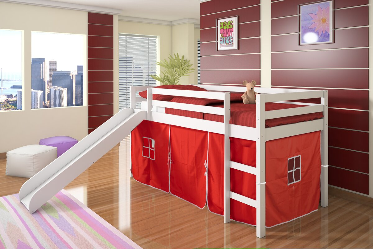 Twin Bed With Slide Part - 21: Tent Twin Low Loft Bed With Slide