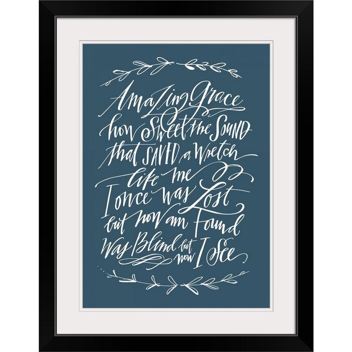 photo relating to Amazing Grace Lyrics Printable identify Giclee Incredible Grace Laurel Textual Artwork Print
