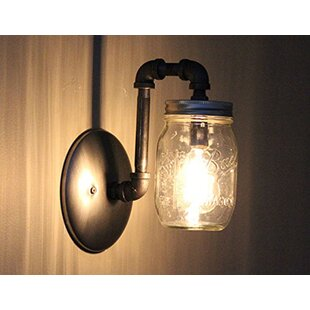Aida Mason Jar 1 Light Armed Sconce