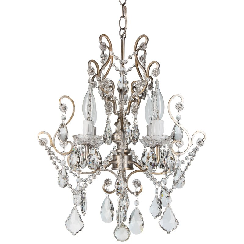 Alida 4 light glass crystal chandelier