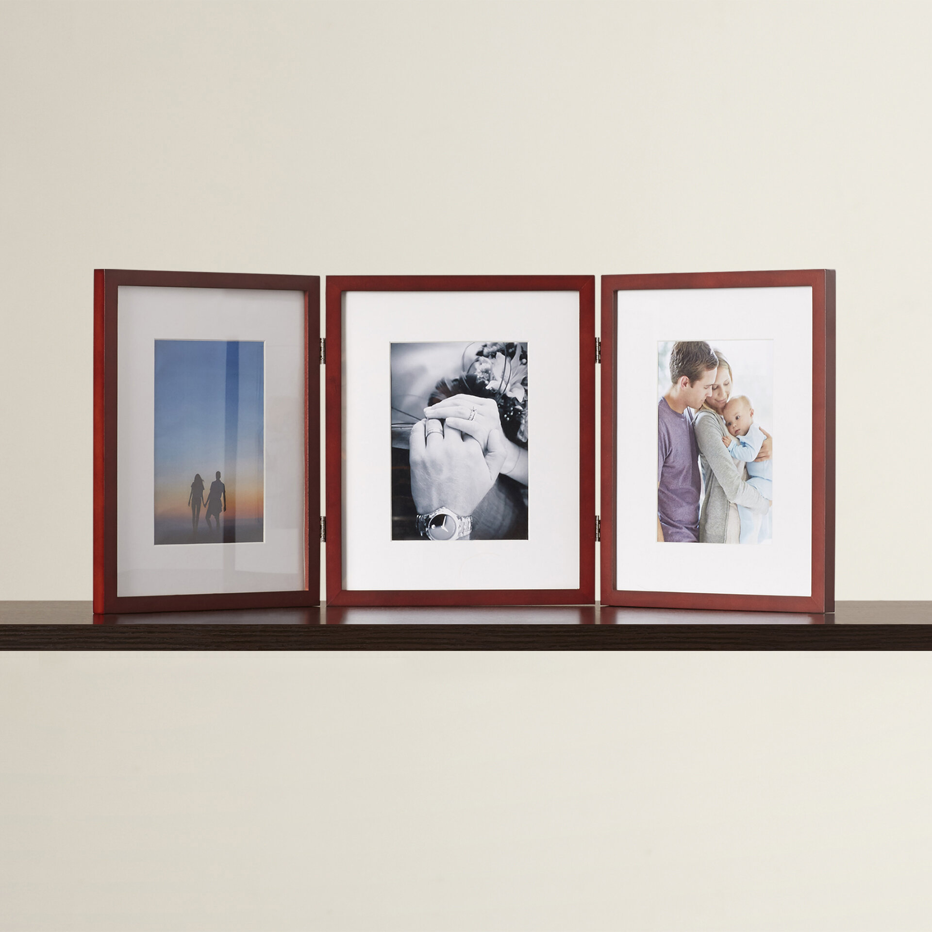 Red Barrel Studio Hinged Triple Picture Frame with Bevel Cut Mats ...