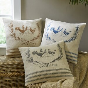 Hen Lithograph Cotton Throw Pillow