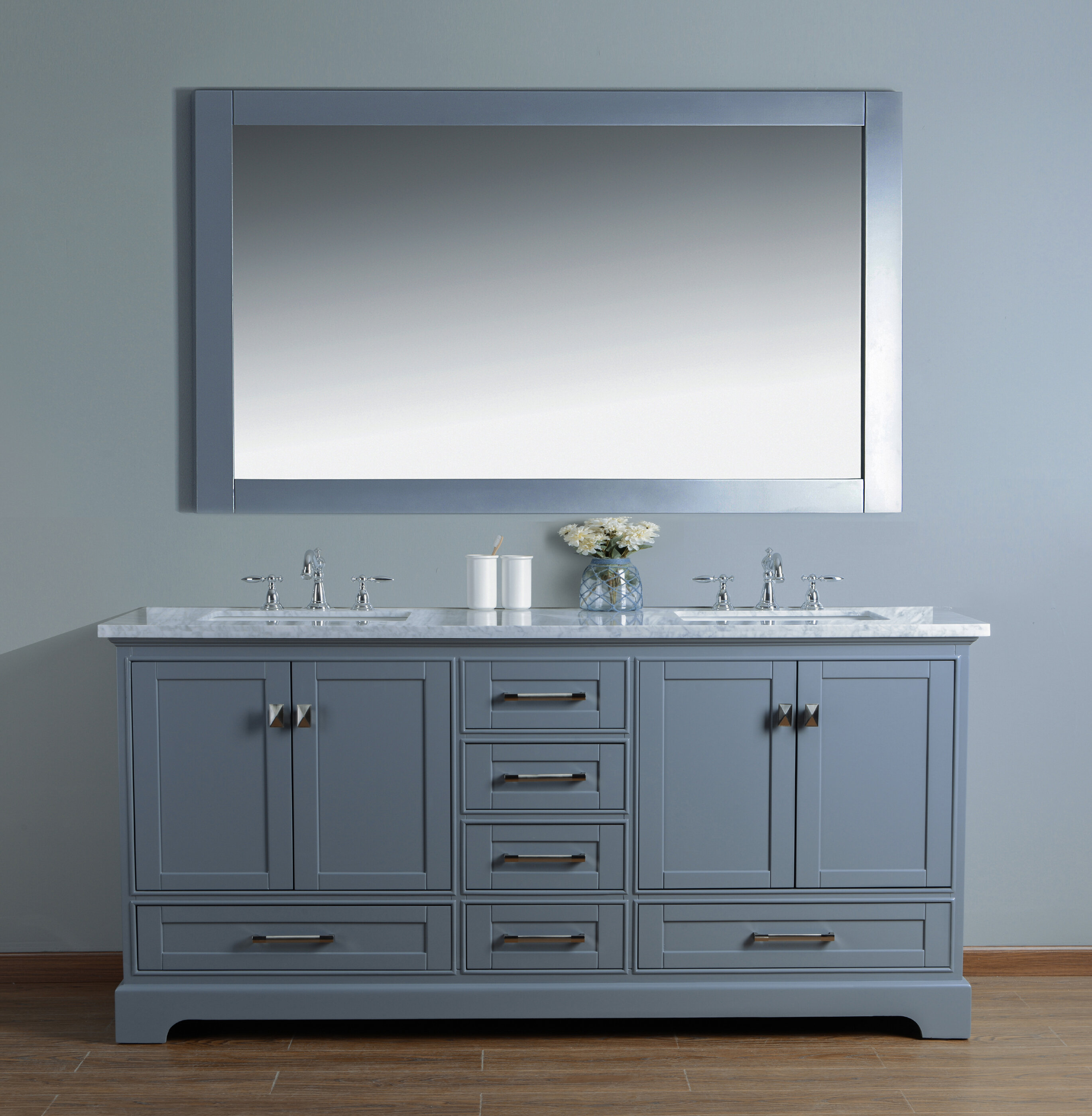 Willa Arlo Interiors Stian 72 Double Sink Bathroom Vanity Set With Mirror Reviews Wayfair