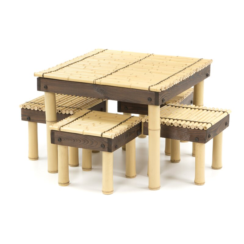 Gina Bamboo Coffee Table With Four Stools