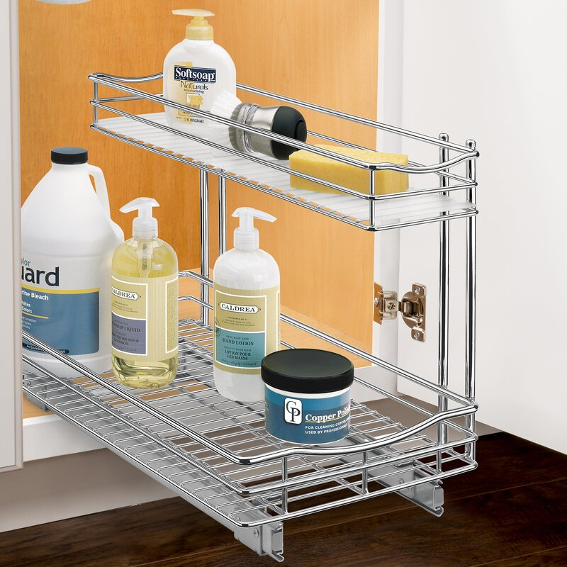 Roll Out Under Sink Cabinet Organizer - Pull Out Two Tier Sliding Shelf - 11.5 in. wide x 21 inch deep - Chrome
