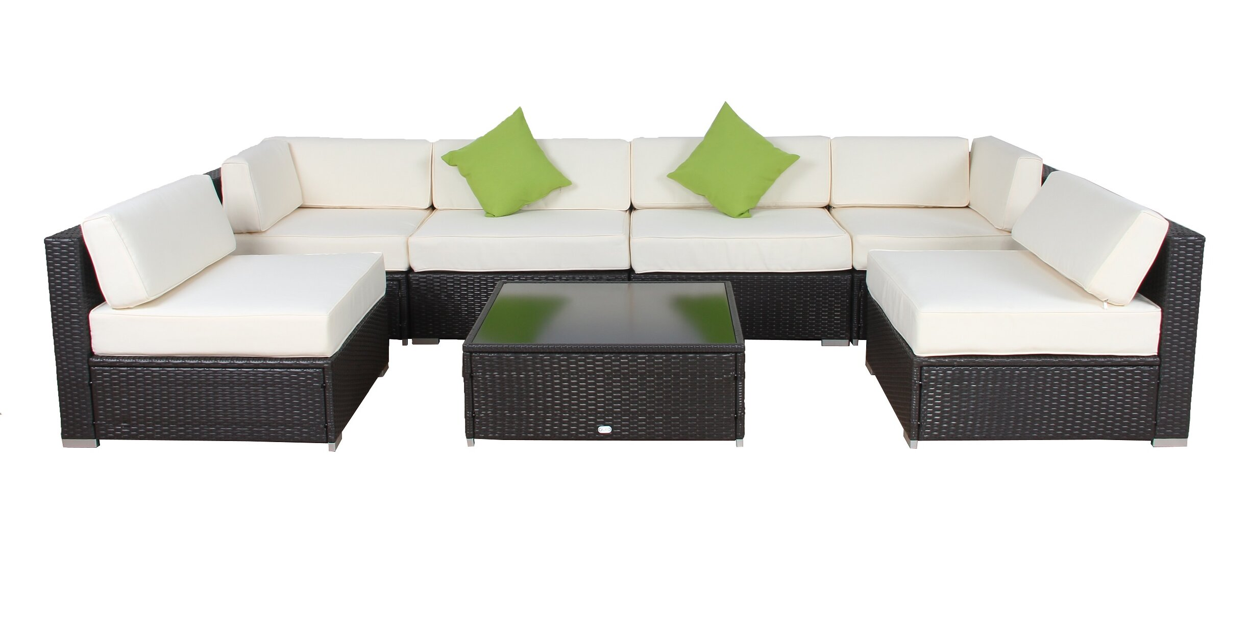 Smithville 9 Piece Rattan Sectional Seating Group With Cushions Reviews Joss Main