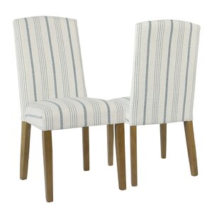 Lake Kathryn Stripe Parsons Chair (Set of 2) by Beachcrest Home