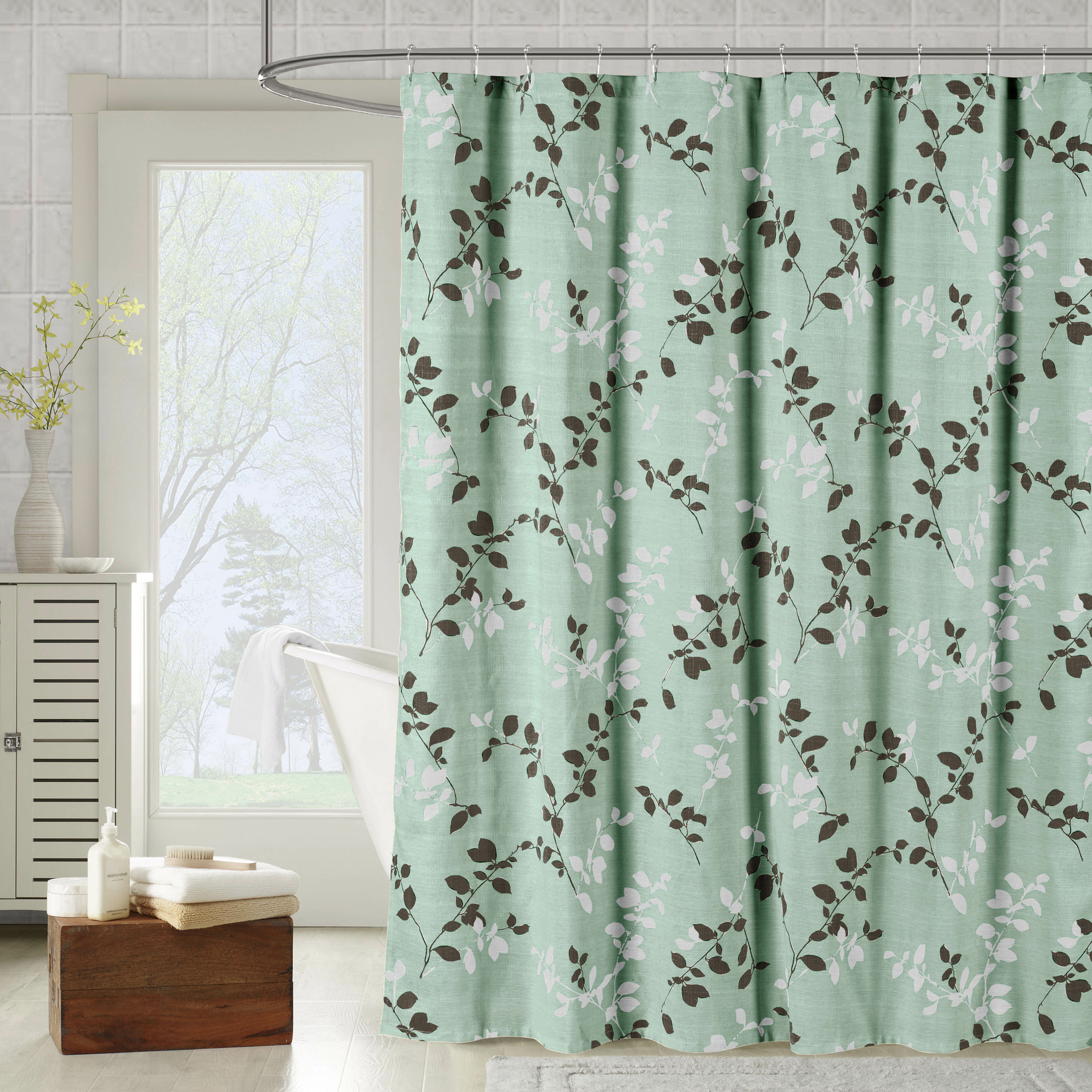 Meridian Printed Cotton Blend Single Shower Curtain