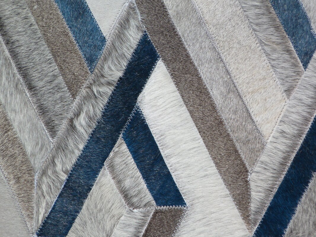 Exquisite Rugs Natural Hide Hand Woven Cowhide Gray/Blue