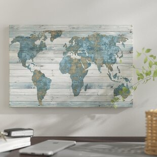 World map push pin wayfair world map on wood print on canvas gumiabroncs Choice Image