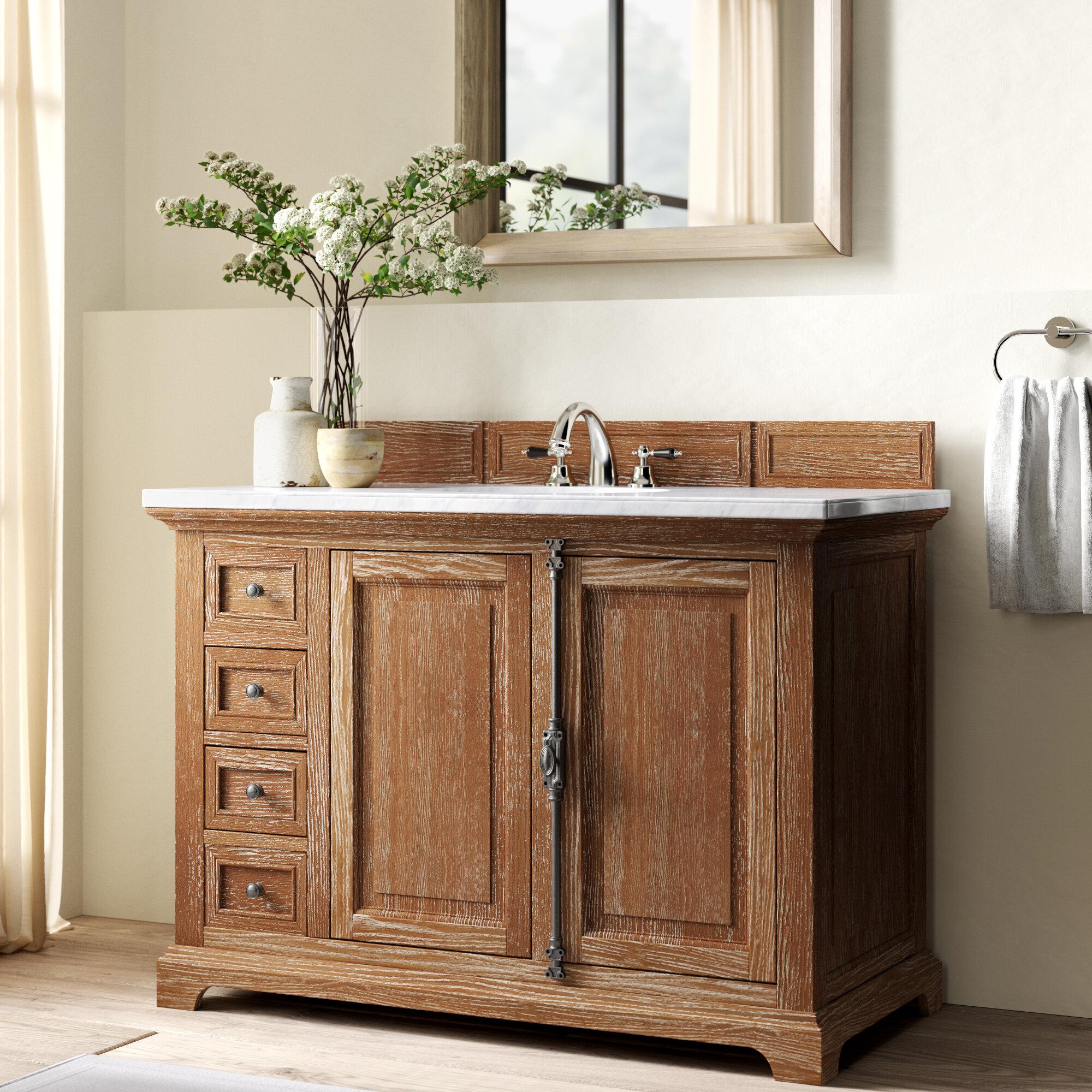 Greyleigh Ogallala 48 Single Driftwood Bathroom Vanity Set With Drawers Wayfair