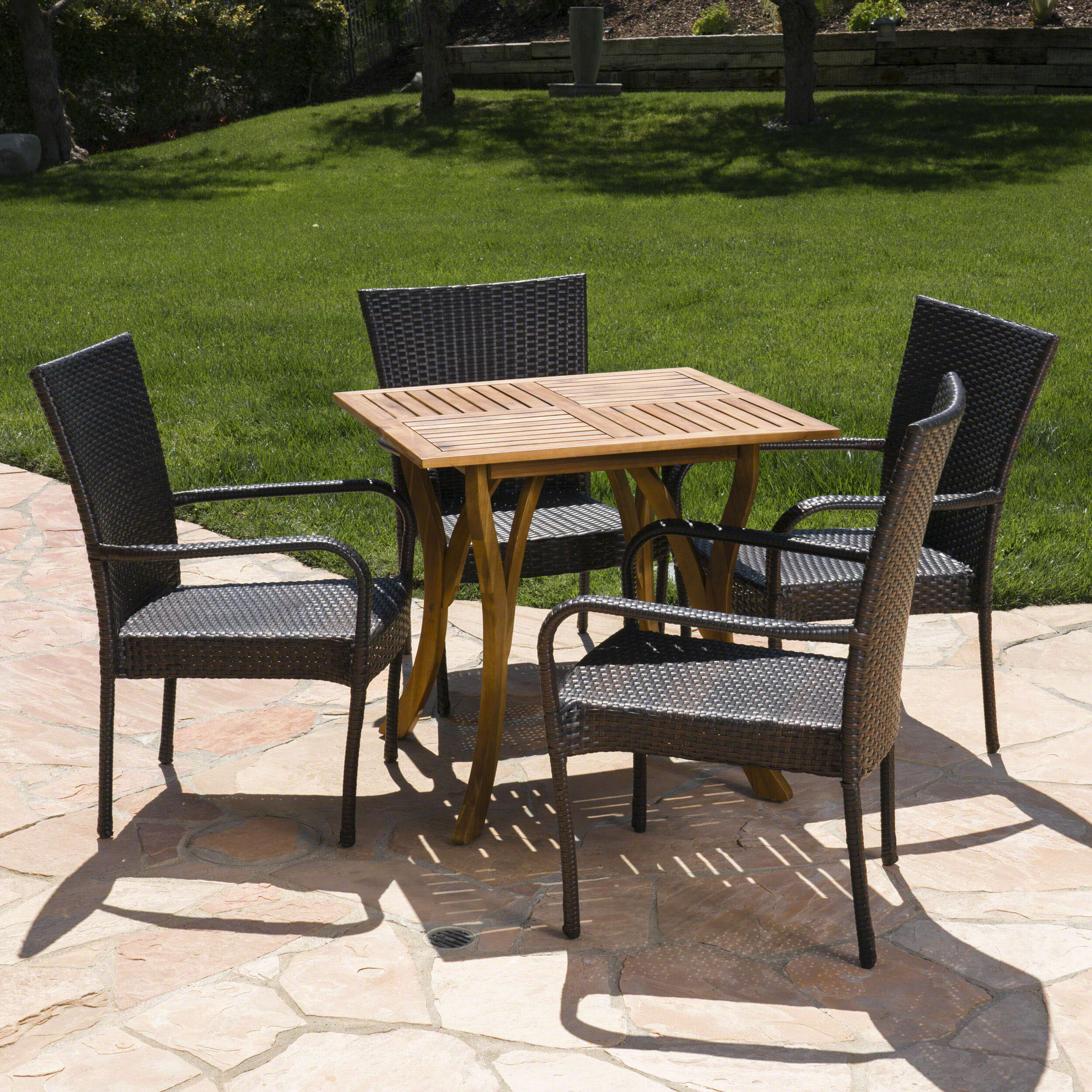Bay isle home fairmont outdoor acacia wood wicker 5 piece dining set wayfair
