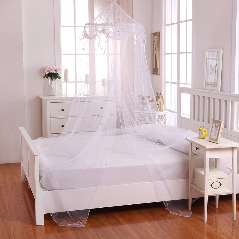 Delightful Buttons And Bows Kids Collapsible Hoop Sheer Bed Canopy