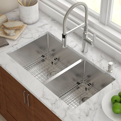 Stainless Steel 32 75 X 19 Double Bowl Undermount Kitchen Sink With Noisedefend Soundproofing