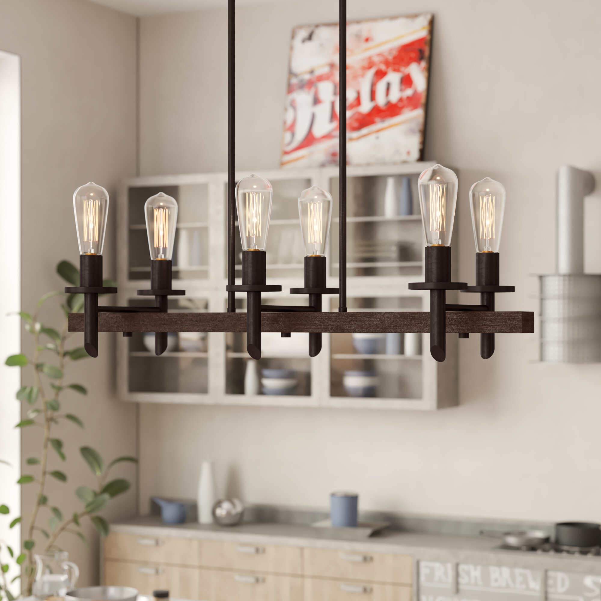 6 Kitchen Island | Trent Austin Design Redvale 6 Light Kitchen Island Pendant Reviews