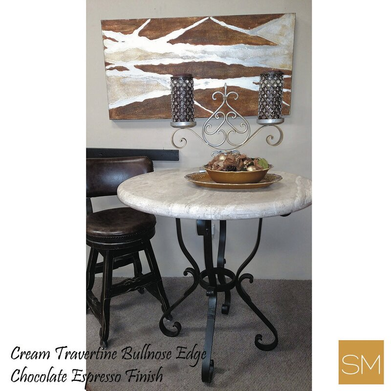 Crouch Timeless Elegant Bar Table With a Travertine Round Top and a  Beautifully Designed Iron Base