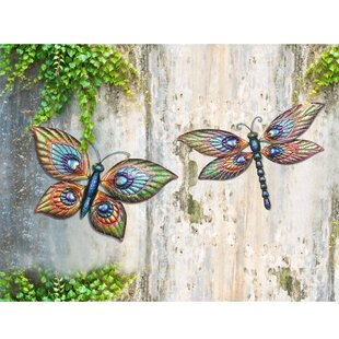 Superieur 2 Piece Butterfly And Dragonfly Outdoor Wall Decor Set