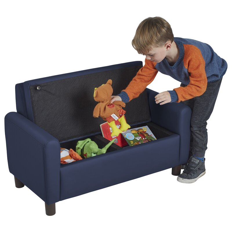 SoftZone® Hideaway Kids Loveseat With Storage Compartment