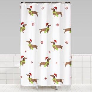 Broussard Dachshund Christmas Shower Curtain