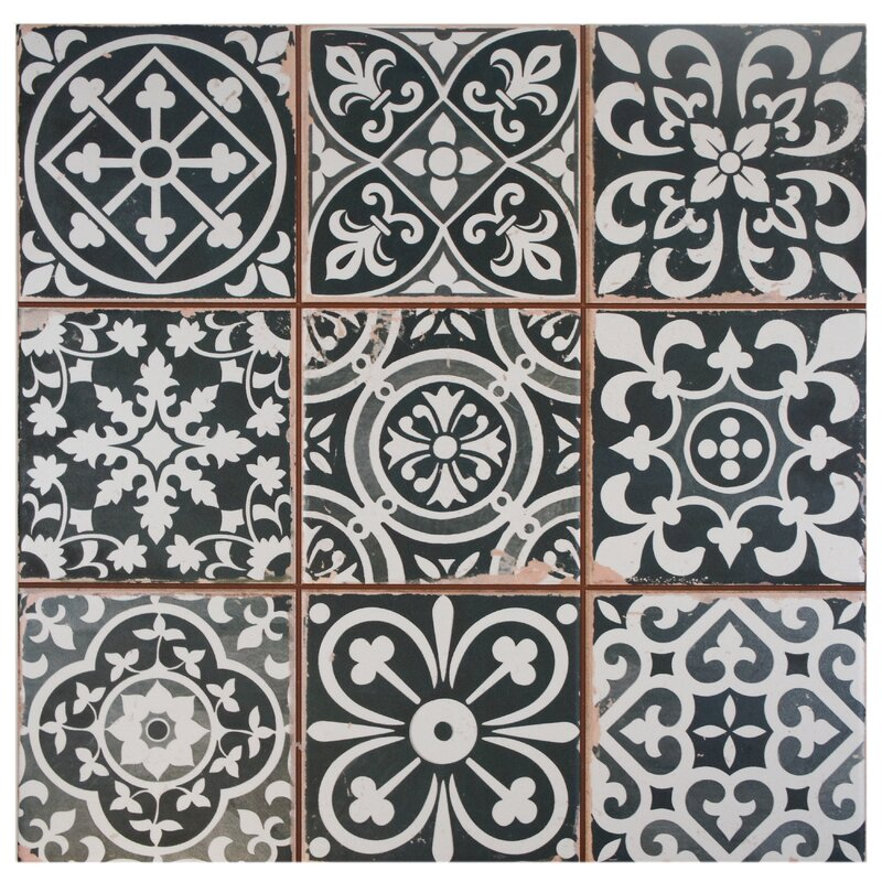 elitetile faventie nero 13 x 13 ceramic field tile in. Black Bedroom Furniture Sets. Home Design Ideas