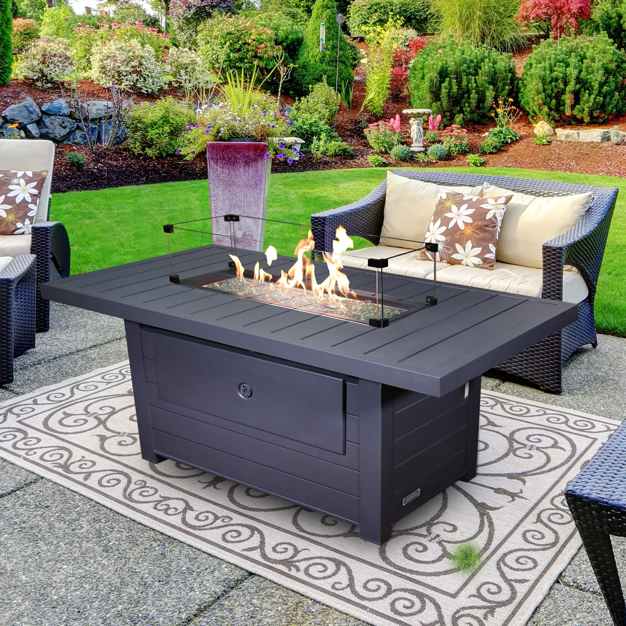 Patio Furniture With Fireplace.Aluminum Propane Natural Gas Outdoor Fireplace